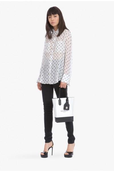 Camisa de seda branca e preta com bolinhas para mulheres - Balmain.com
