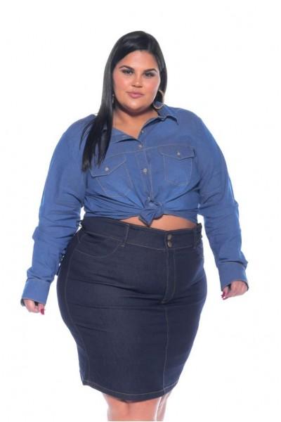 VESTGRANDE - Camisa Jeans Stretch Feminina Plus Size 3166